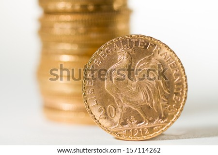 Twenty French Francs gold coins - Selective focus