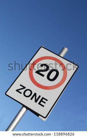Twenty miles per hour speed limit sign. - stock photo