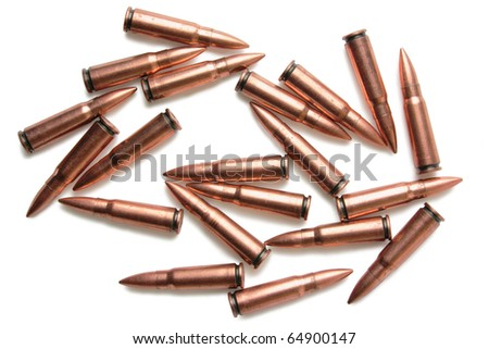 twenty of spiky scratched cartridges with shadows on white background - stock photo