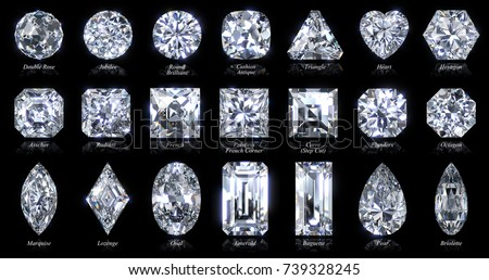 twenty one various diamond shapes cut stock illustration 739328245