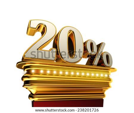 Twenty percent figure on a golden platform with brilliant lights over white background - stock photo