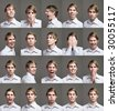Twenty portraits of a man with different expressions - stock photo