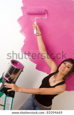 Twenty Something Painting Home Decor Project Pink Covering White - stock photo