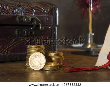 Twenty Swiss Francs gold coins - stock photo