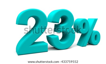 Twenty three percents 3D text, with big fonts isolated on white background. 3D rendering.