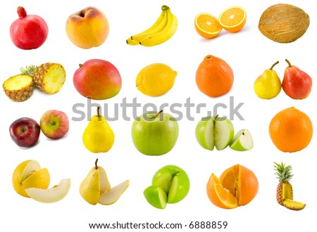 twenty tropical fruits collection isolated on white background - stock photo