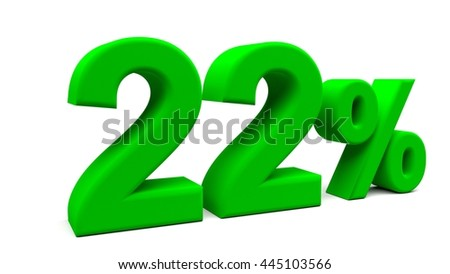 Twenty two percents 3D text, with big fonts isolated on white background. 3D rendering.