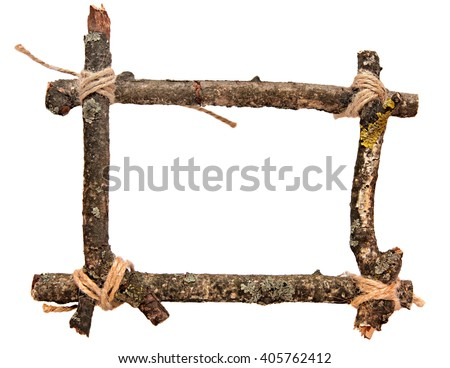 Twig frame. Frame made of branches isolated on white background - stock photo