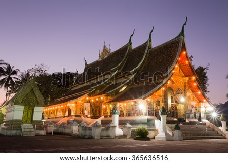 twight light at Wat xiang thong,temples in Laos - stock photo