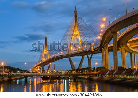 Twilight at Bhumibol Bridge in Samut Prakan, Thailand