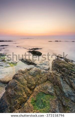 Twilight at Pattaya beach tourist attraction in Pattaya,Thailand - stock photo