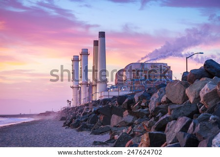 Twilight at the El Segundo, California Power Plant - stock photo