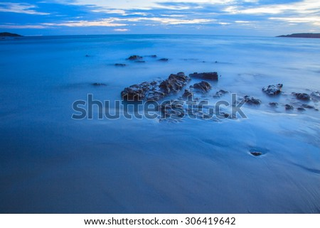 Twilight beach,Mist sea  tropical beach - stock photo