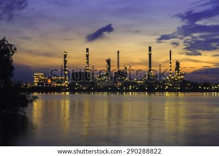 twilight beautiful  oil refinery  - stock photo