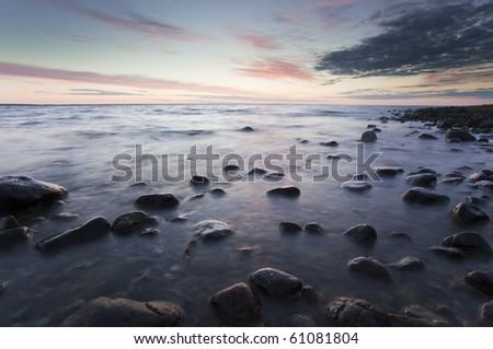 Twilight coast scene, southern of Sweden - stock photo