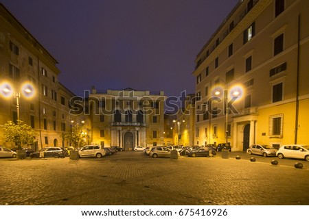 Twilight in Rome cityscape on February 5, 2017