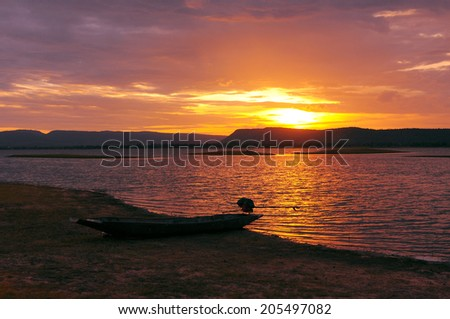 twilight light sky by the lake - stock photo