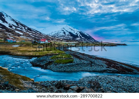 Twilight ocean landscape in Rural Iceland.  - stock photo