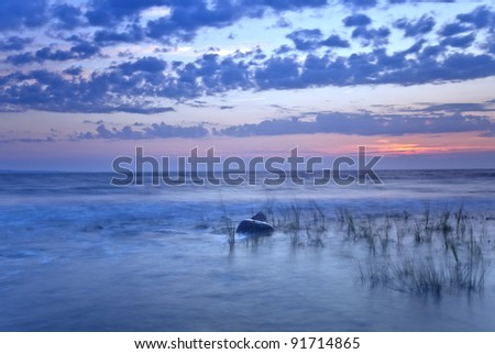 Twilight ocean scene, windblown reed in the foreground - stock photo