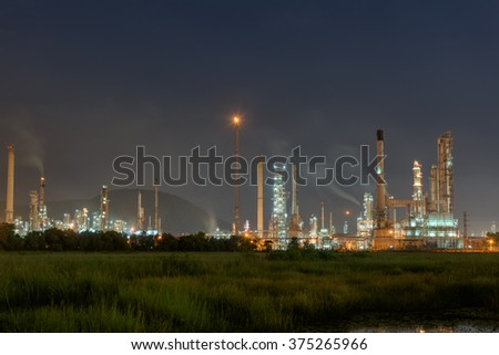 Twilight of oil refinery plant,Early morning.