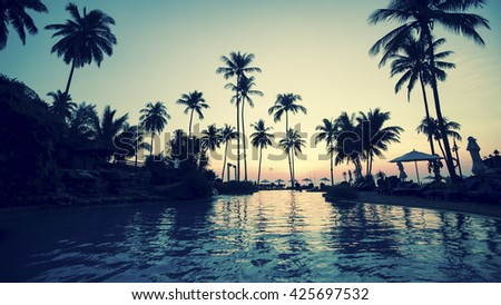 Twilight on a tropical coast with silhouette palm trees. - stock photo