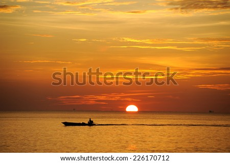 Twilight on the beach, Thailand - stock photo