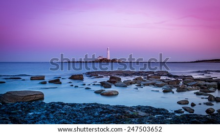 Twilight on the Northumberland coast - stock photo