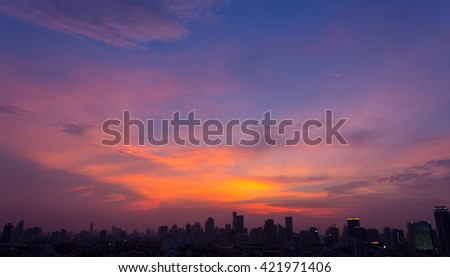 twilight over the big city, beautiful panoramic scenery of cityscape - stock photo
