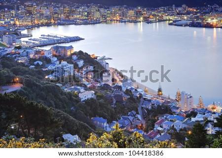 Twilight over Wellington Harbour, New Zealand. - stock photo
