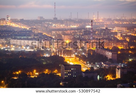 "Twilight panorama view from ""AutoZaz"" plant chimney, 120 meters of height, Zaporozhye, Ukraine"