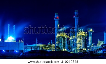 Twilight photo of power plant
