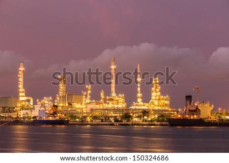 twilight refinery oli and petroleum - stock photo