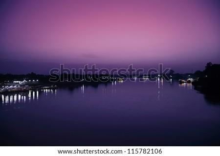 Twilight Riverside Ubon Ratchathani Thailand. - stock photo