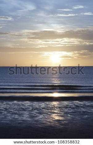 twilight scene at the beach - stock photo