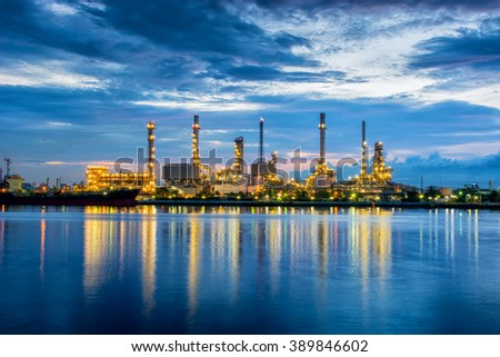 Twilight scene of oil refinery plant. - stock photo