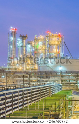 Twilight scene of Petroleum and chemical plant - stock photo