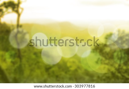 twilight scenic view of mountain with mist. - stock photo