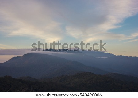 Twilight sky and Mountain