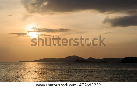 twilight sky and sunset at the sea