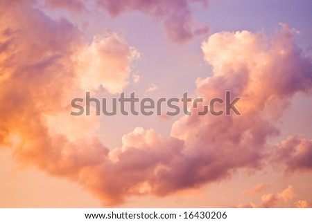 twilight sky with clouds and dreamy look - stock photo