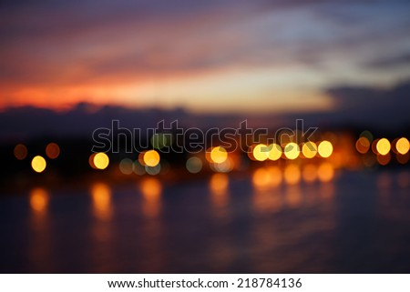 Twilight time across Chao Phraya River during sunset in Bangkok - stock photo