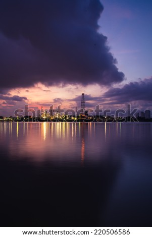 Twilight time at oil refinery in Bangkok,Thailand. - stock photo