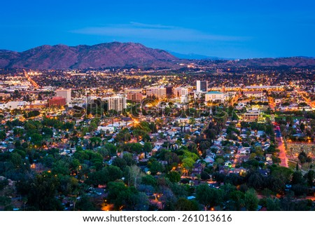Twilight view of the city of Riverside, from Mount Rubidoux Park, in Riverside, California. - stock photo