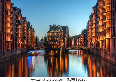 Twilight view of Warehouse District (Speicherstadt) in Hamburg, Germany - stock photo