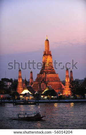 Twilight view of Wat Arun during sunset in Bangkok, Thailand - stock photo