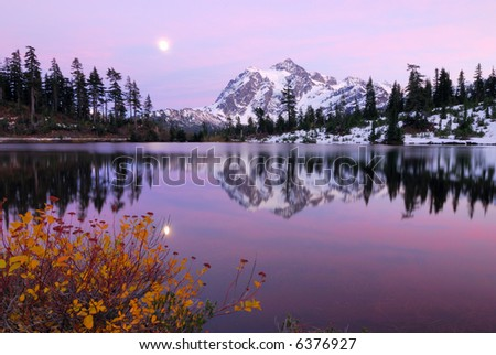 Twilight Zone at Picture Lake with a reflection of Mount Shuksan - stock photo