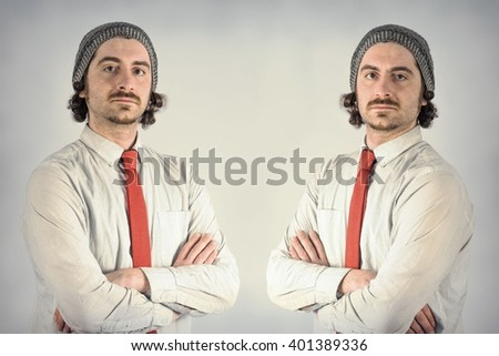 Twin adult men with beards - stock photo