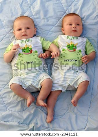 Twin baby boys - stock photo
