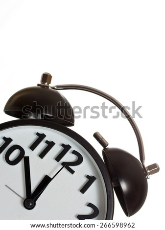 Twin bell alarm clock on white background. - stock photo