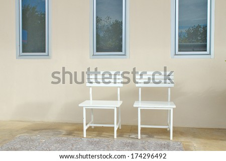 Twin blank chairs front wall - stock photo